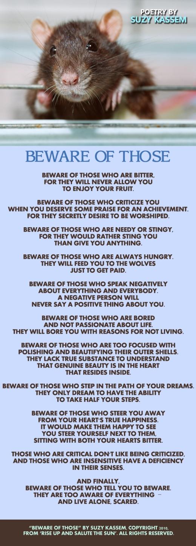 beware of those, poetry by Suzy Kassem