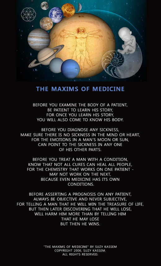 Suzy Kassem poetry - Maxims of Medicine